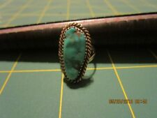 Sterling Silver Vintage 925 Rope Trim turquoise Ring Sz 5 .5