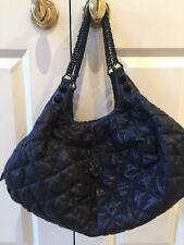 Faith Connexion Large Black Crinkled Leather  Quilted Hobo Handbag Purse