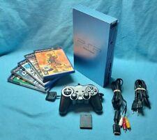 Playstation 2 PS2 fat console PAL Aqua blue SCPH 50004 5 games bundle