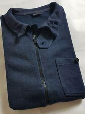 Mens HENRI LLOYD Lambswool Zip Through Jacket Medium Blue Thin Knit Button Neck