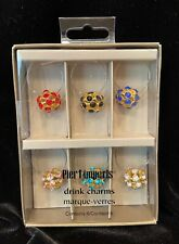 Pier 1 Imports Drink Charms Marque-Verres Set of 6 jewels Glass Wine Bar Party