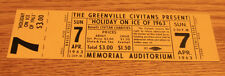 Vintage Ticket Stub - Holiday on Ice - Greenville SC - Memorial Audit - 1963