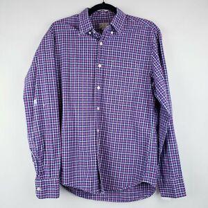 J Crew Mens Plaid Button Down Shirt Size Medium Pink Purple