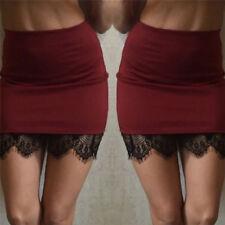 Women's Formal Lace Stretch High Waist Short Bodycon Mini Skirt Pencil Dress Purple L
