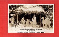RPPC Chippewa Falls,WI Outdoor Christmas Crib,Northern Wisconsin Colony School