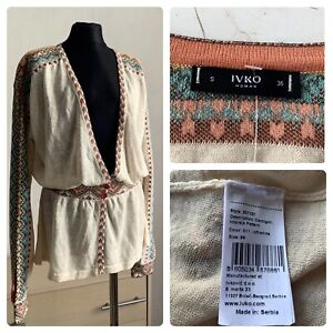 IVKO cardigan with buttons in ethnic style linen cotton size 36 / S