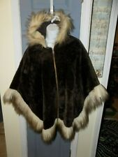 Vtg 60s 70s Faux Fur Zip Front Hooded Cape Poncho Union Made In Usa Euc