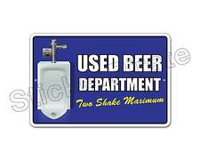 "*Aluminum* Used Beer Department Two Shake 8"" x 12"" Funny Metal Novelty Sign NS"