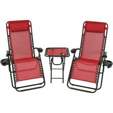 Sunnydaze Decor Zero Gravity Red Sling Beach Chairs with Side Table (Set of 2)