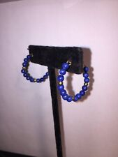 French wire Hoop Earring c1900 pierce antique Lapis Lazuli 14k yellow gold