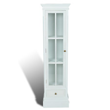 147cm Wooden Glass Door 3 Shelves Shelf Storage Bookcase Cabinet Display Stand
