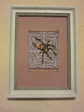 SPIDER ART BEADED HANDMADE MICROMOSAIC FRAMED ORIGINAL ARTWORK BEADLOOMED ART