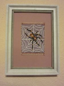 SPIDER ART BEADED HANDMADE MICROMOSAIC FRAMED ORIGINAL ARTWORK BEADLOOMED ART