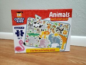 Animals Search & Learn Puzzle by Clever Kids - 28 Piece Floor Puzzle