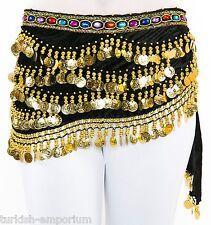 Joyas Rhinestone Terciopelo moneda Belly Dance Hip Bufanda cinturón Disfraz Envoltura Nuevo Uk