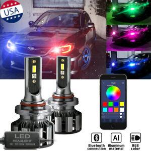 9005 9006 RGB Phone Control High/Low Beam Headlight DRL Fog Light Cree LED Bulbs