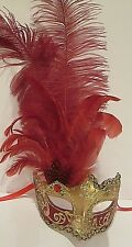 MAR01SG HANDMADE IN ITALY-  MASQUERADE,  PAPIER MACHE, PARTY EYE MASK RED/GOLD