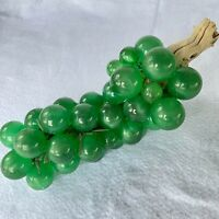 "Huge MCM Lucite Grape Cluster on Driftwood Green Emerald 15"" Interior Decor EUC"