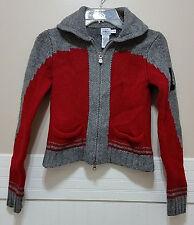 CALVIN KLEIN JEANS 100% Wool Sweater Red Grey Lambswool Youth Medium Boys Girls