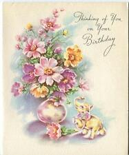 VINTAGE SPRING DAISIES FLOWERS BOUQUET ELEPHANT FIGURE BIRTHDAY ART CARD PRINT
