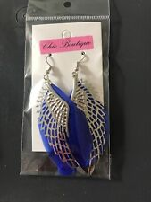 Fashion Earring Boho Festival Boutique Uk Silver Blue Large Feather Angel Wing
