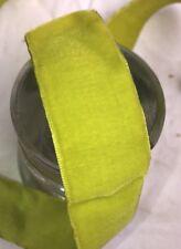 "1 yard vintage Chartreuse Green velvet 1 1/2"" rayon ribbon trim Millinery dress"