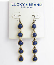 NEW LUCKY BRAND Blue Lapis Stone Gold-Tone Linear Drop Earrings