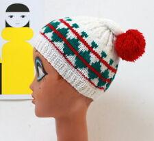 Bonnet laine vintage à pompon rouge