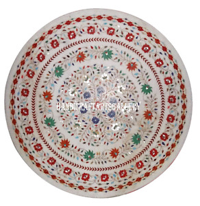 """48"""" White Marble Dining Center Table Top Micro Mosaic Inlay Multi Stone H901A"""