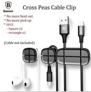 3pcs Baseus Cable Clips clip Management Holder cord wire Line Organizer