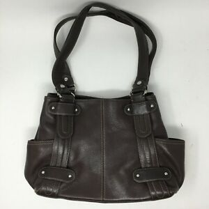 Tignanello Womens Large Double Handles Shoulder Bag Brown Leather Magnetic Lock