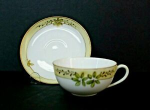 Vintage Nippon Hand Painted Leaves Gold Trim Cup and Saucer From Japan