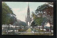 Sir Walter Scott's Monument & Princess Street Gardens Edinburgh 1908 Postcard