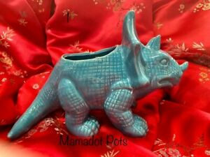 Dinosaur Brontosaurus Triceratops Ceramic Planter Pot