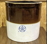 "Antique Blue Star Stoneware Co USA 6 Gallon Two Toned Glazed Crock 13""H 13""W"