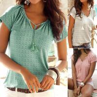 Women Bohemian Printed Short Sleeve T-Shirt Casual Summer Boho Beach Tops Blouse