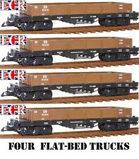 NEW, 4, TWO PAIRS, G SCALE 45mm GAUGE FLAT BED TRUCK BROWN FREIGHT GARDEN TRAIN