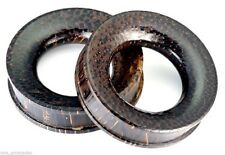 """PAIR-Wood Palm Double Flare Tunnels 50mm/2"""" Big Gauge Body Jewelry"""