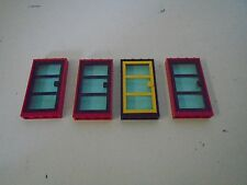 Lego Lot of 4 Door Frames Red Base Blue Glass Black Yellow