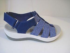 Clarks Collection Soft Cushion Comfort Sandals Blue Denim Four Strap Size 6M
