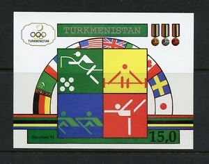 N217 Turkménistan 1992 Olympiques Flags Levage Aviron Feuille MNH
