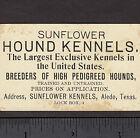 c 1900 Sunflower Hound Kennels Aledo TX Greyhound Bloodhound Hunting Dogs Card