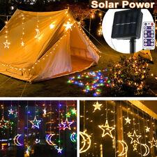 Solar Moon Star Twinkle Led Curtain String Fairy Lights Outdoor Garden Lamp Xmas