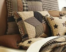 BINGHAM STAR QUILTED STANDARD SHAM : COUNTRY BROWN BLACK PLAID PILLOW COVER