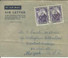 Malta SG#259(x2) FORMULAR AIR LETTER Airmail NO?26/51 to USA, with message