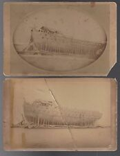 2 Cabinet Cards of a US/British Frigate to be Dismantled War of 1812