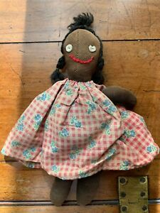 Antique African American Stocking Rag Doll w/Embroidered Face, c. 1895