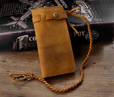 Long Vintage Lether Wallet With Chain For Biker Motorcylce Mens Brown