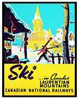 VTG CN Railways Travel Poster Ski Laurentians Quebec Color 16 X 20 Photo Poster
