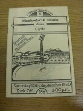 20/09/1980 Meadowbank Thistle v Clyde  . Thanks for viewing this item, buy in co